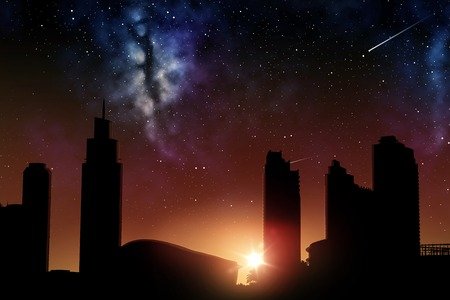 space and future concept - futuristic city skyscrapers over sunrise in night sky background