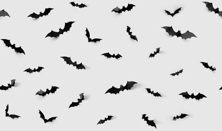 ハロウィーンの装飾の概念 - 灰色の背景に黒い紙のコウモリとシームレスなパターン