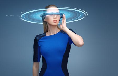 가상 현실에서 여자 홀로그램 3d 안경