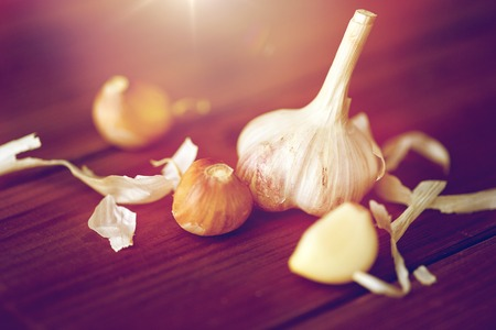 close up of garlic on wooden table