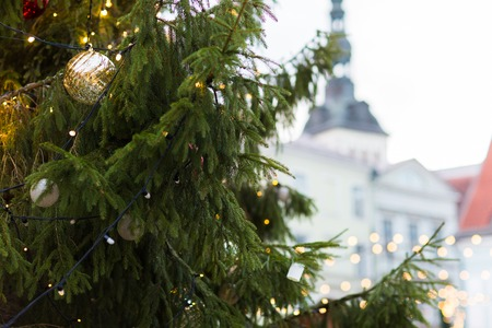 close up of christmas tree at old town in tallinn