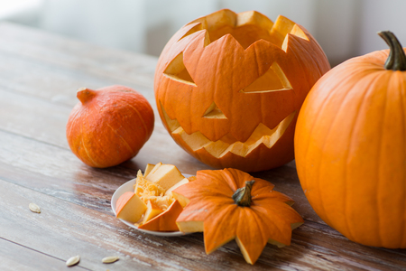 jack-o-lantern or carved halloween pumpkin Stock Photo
