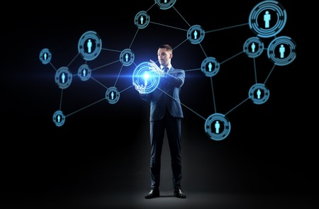 businessman with virtual network contacts Stock Photo