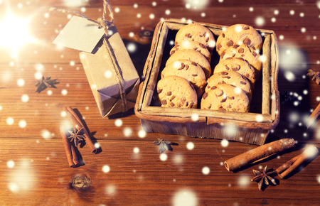 close up of christmas oat cookies on wooden table Stock Photo