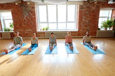 group of people doing yoga staff pose at studio Фото со стока - 87213331