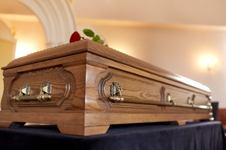 coffin at funeral in church Stock Photo