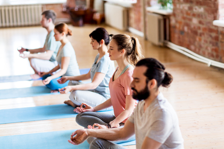 fitness, yoga and healthy lifestyle concept - group of people meditating in lotus pose at studio 版權商用圖片 - 88065217