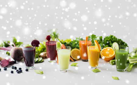 glasses with different fruit or vegetable juices Banco de Imagens - 88607865