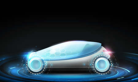 futuristic concept car over black background