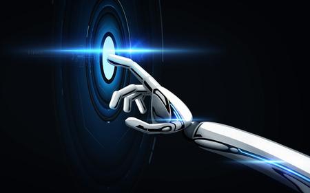 robot hand over black background