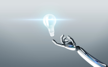 robot hand with light bulb over gray background Stock Photo