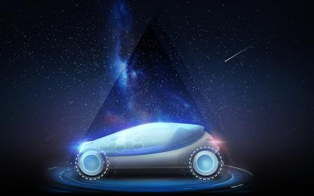 スペースの背景の上の未来コンセプト車