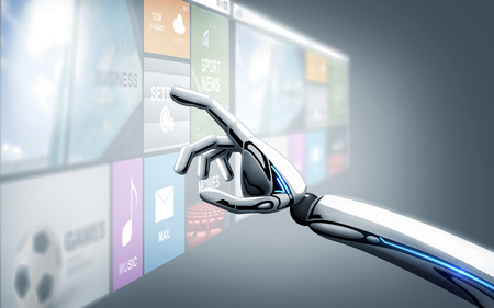 Science, future technology and progress concept - robot hand touching virtual screen with applications over blue