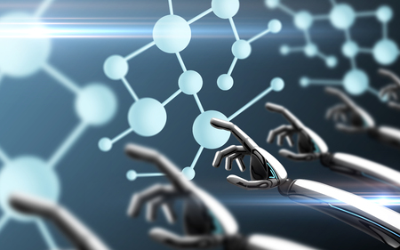 Science, future technology and progress concept - robot hands touching molecule formula over blue Banco de Imagens