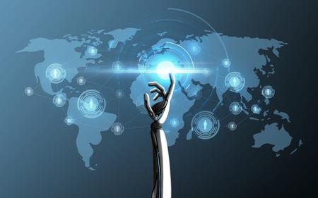 Wetenschap, toekomstig technologie en vooruitgangsconcept - robothand wat betreft laserlicht op de projectie van de wereldkaart over blauw Stockfoto
