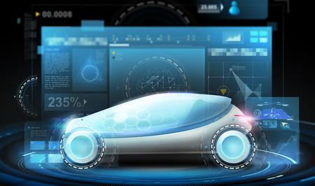Futuristische concept car en virtuele schermen Stockfoto - 89278794