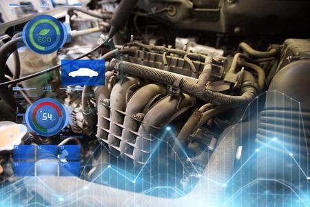 車のエンジンをクローズ アップ 写真素材