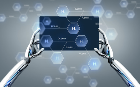 robot hands with tablet pc and chemical formula Stock Photo