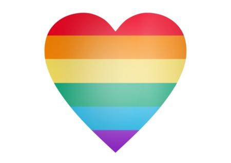 Forma de corazón del arco iris sobre fondo blanco Foto de archivo - 89290582