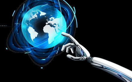 robot hand touching virtual earth hologram
