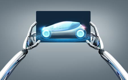 robot hands with concept car on tablet pc screen