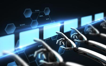 robot handen virtuele schermen over zwart aan te raken Stockfoto