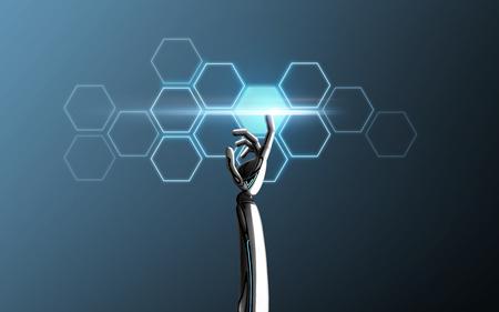 robot hand touching network cells