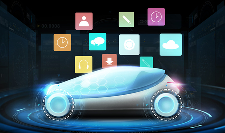 futuristic concept car with virtual menu icons Stock Photo