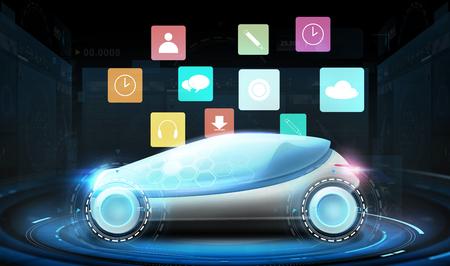 futuristische concept car met virtuele menupictogrammen Stockfoto