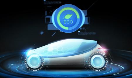 futuristic concept car with eco icon