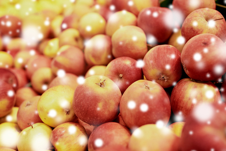 ripe apples at grocery store or market Stock Photo