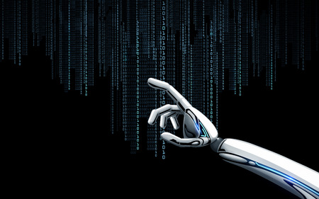 robot hand with binary code over black background