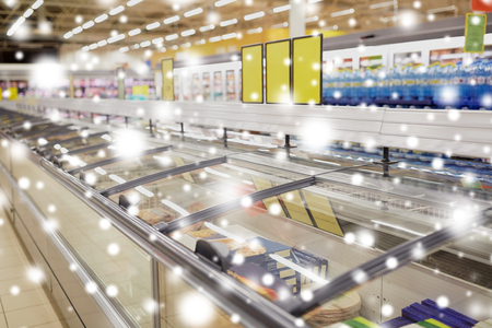 freezers at grocery store