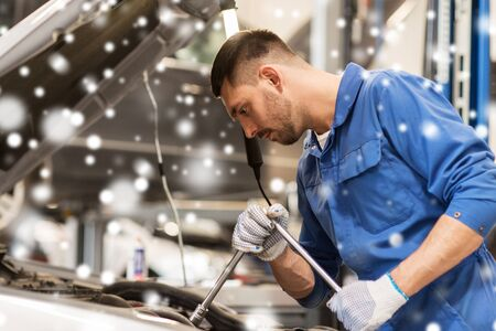 mechanic man with wrench repairing car at workshop 版權商用圖片