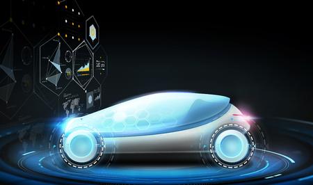 futuristic concept car and virtual screens Banque d'images