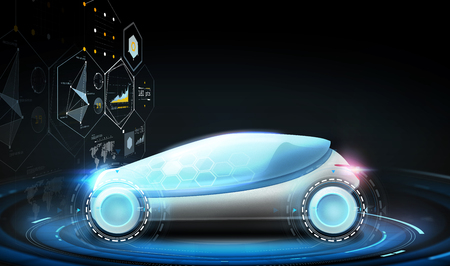 futuristische concept car en virtuele schermen