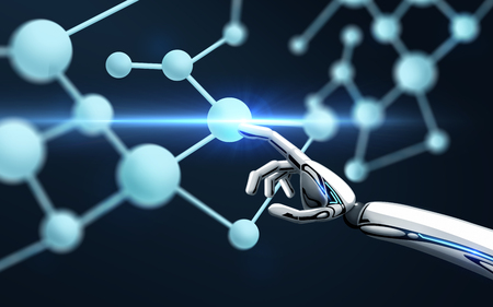 science, future technology and progress concept - robot hand touching molecule formula over black background