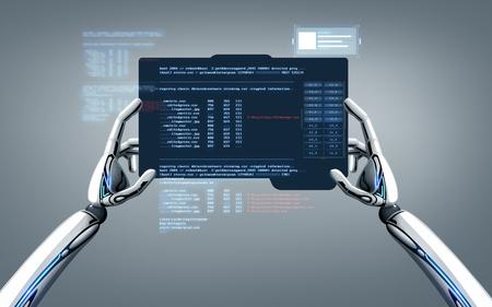 robot hands programming tablet pc over gray