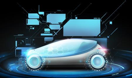 transport en toekomstige technologie - futuristische concept car en virtuele schermen projectie op zwarte achtergrond