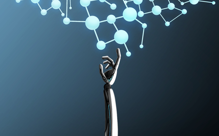 Formula della molecola commovente della mano del robot Archivio Fotografico - 90185134