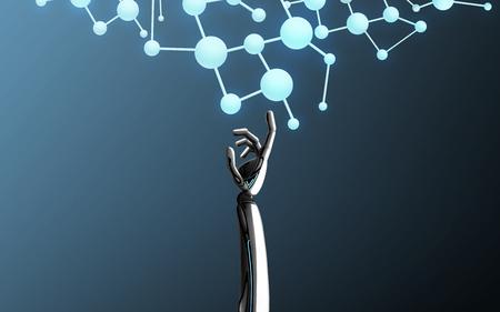 robot hand touching molecule formula
