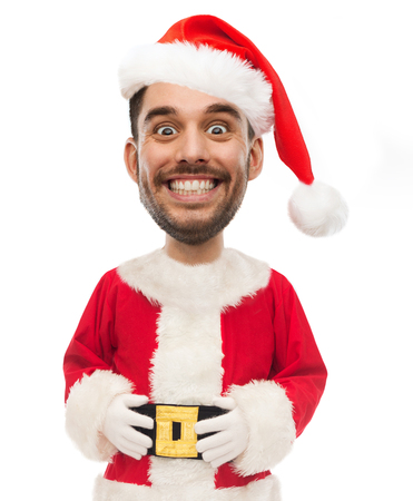 man in santa costume with funny face over white