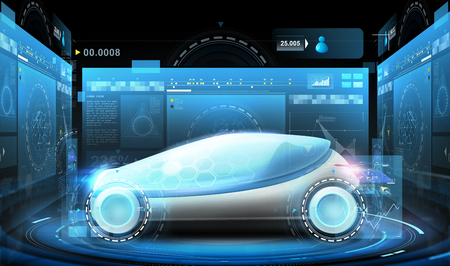 futuristic concept car and virtual screens Stock Photo