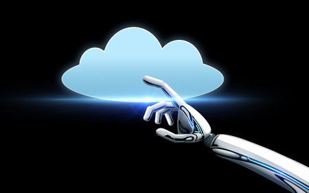 robot hand met cloud computing-pictogram over zwart
