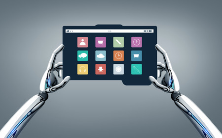 robot hands with menu icons on tablet pc screen Stock Photo