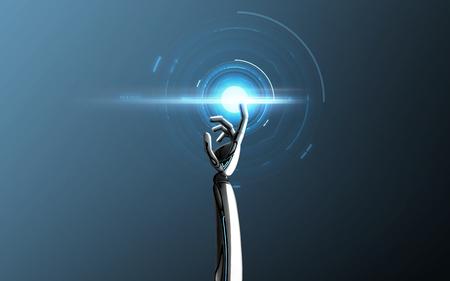robothand wat betreft blauw laserlicht Stockfoto
