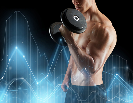 close up of man with dumbbells exercising Stock Photo