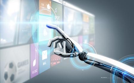 Mano de robot tocando la pantalla virtual con aplicaciones Foto de archivo - 90670535
