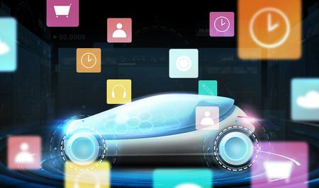 Futuristische concept car met virtuele menupictogrammen Stockfoto - 90670538