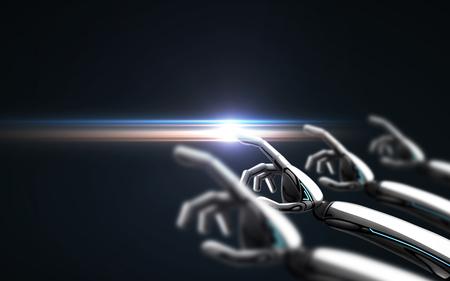 ロボットは黒い背景とレーザー光の上に手を渡す